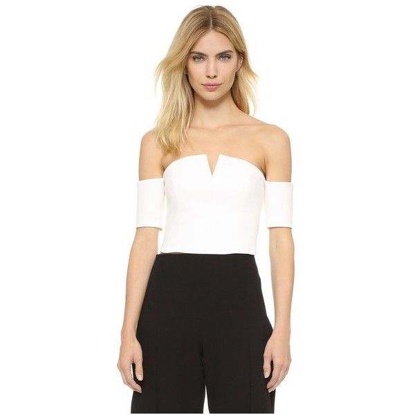 Olcay Gulsen Off Shoulder Crop Top (1.463.200 IDR) ❤ liked on Polyvore featuring tops, off white, layered tops, off the shoulder short sleeve tops, off shoulder tops, short sleeve tops and off the shoulder tops