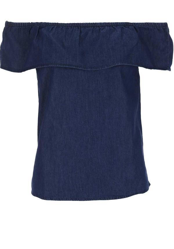 Vero Moda Frida Chambery Cold Shoulder Top, Medium Blue Denim | McElhinneys Department Store