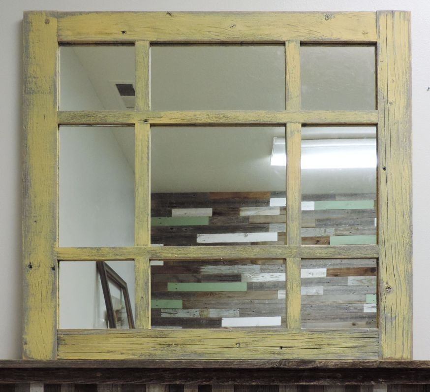 NEW RECLAIMED BARN WOOD WINDOW MIXED 9 PANE VINTAGE STYLE MIRROR ...