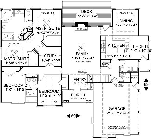 European Style House Plan 3 Beds 2 5 Baths 2398 Sq Ft Plan 56 184 House Layout Plans Master Suite Floor Plan House Plans One Story