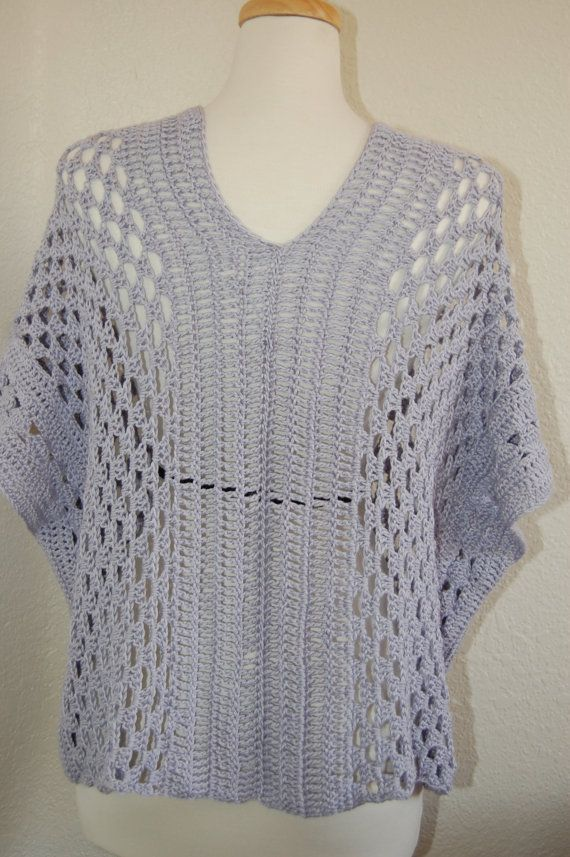 Crochet Tunic Blouse Poncho Wisteria Pima Cotton Modal From Beech Size Medium örgü Tığ Desenleri Bohem şıklığı