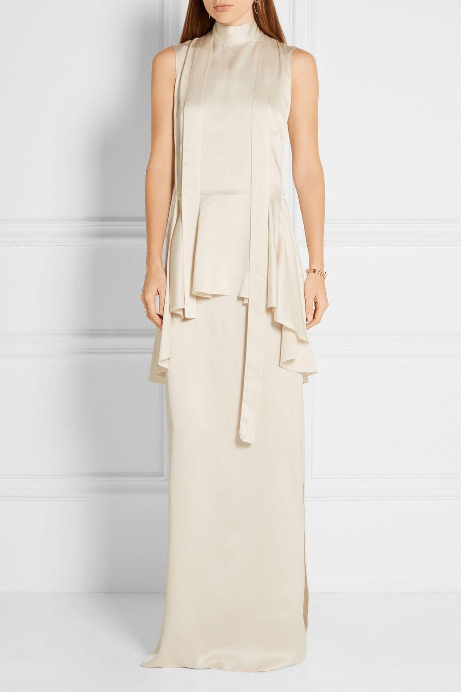 Lanvin | Washed-twill peplum maxi dress | NET-A-PORTER.COM