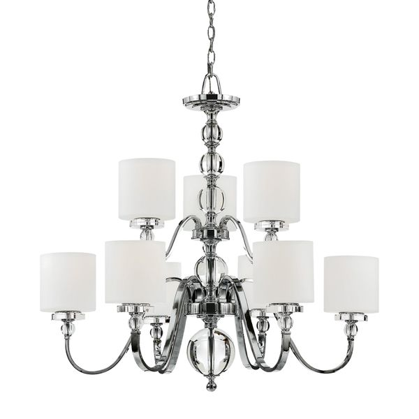 Quoizel downtown two tier 9 light chandelier polished chrome white