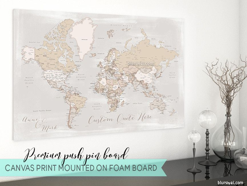 Personalized premium push pin board featuring your custom quote personalized premium push pin board featuring your custom quote rustic world map with cities gumiabroncs Images