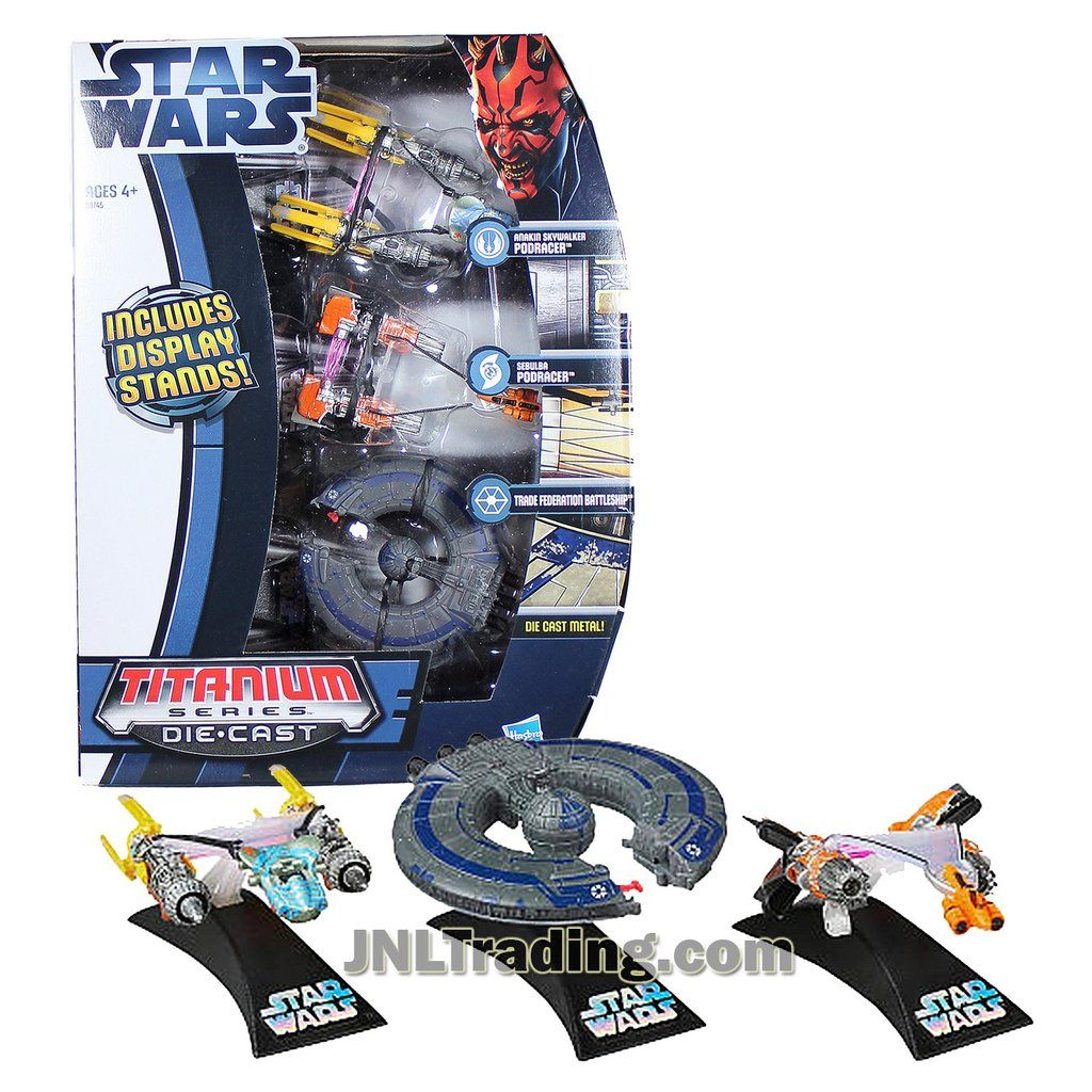 "Trade Federation Battleship Titanium Die-Cast Star Wars Vehicle  3/"" long"