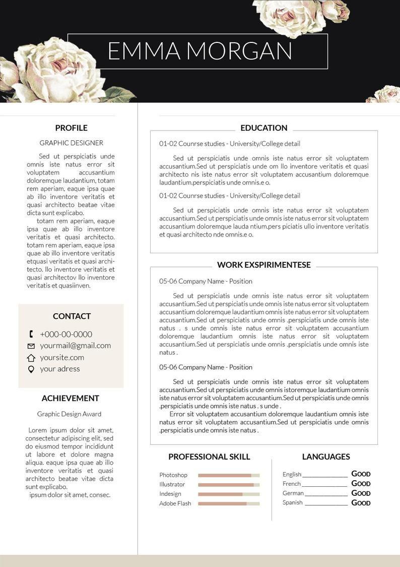 20/% Off  Rose Resume Template  CV template  Letterhead Simple Resume Template  CV template  Letterhead M SALE !