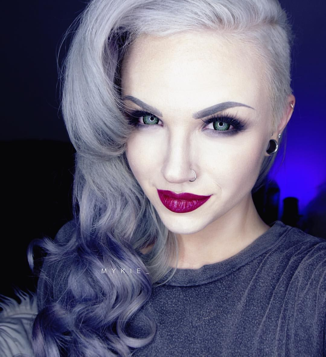 that lipstick! Mykie glam and gore, Half shaved hair