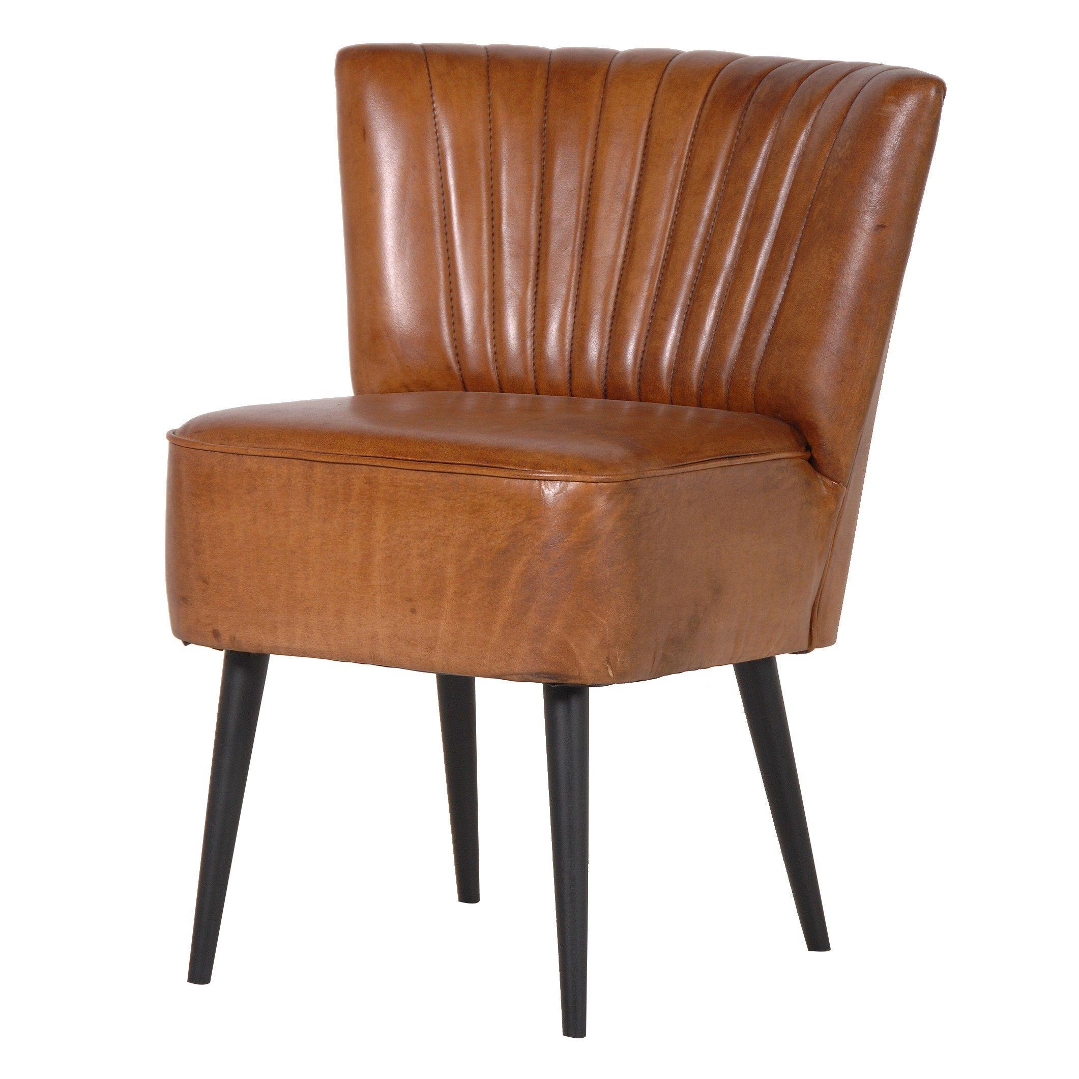 Chaise de repas en cuir brun vintage