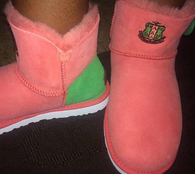 pink and green ugg boots