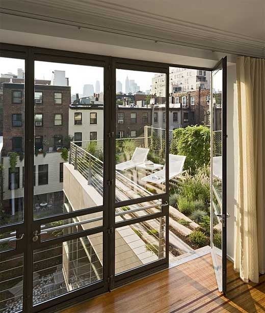 Green roof technology used for private 2nd story garden off master bedroom