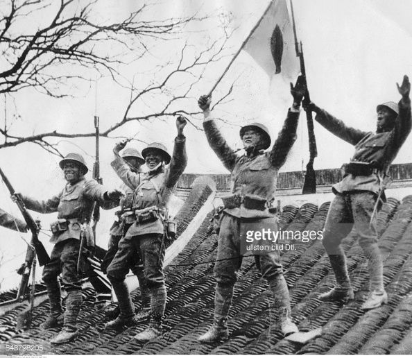 Second Sino Japanese War 1937 1945 Japanese Soldiers Celebrate A Soldier Japanese Tanks Japanese