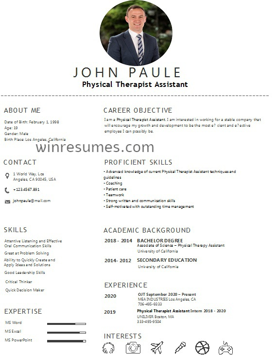 Physical Therapist Assistant Resume in 2020 (With images
