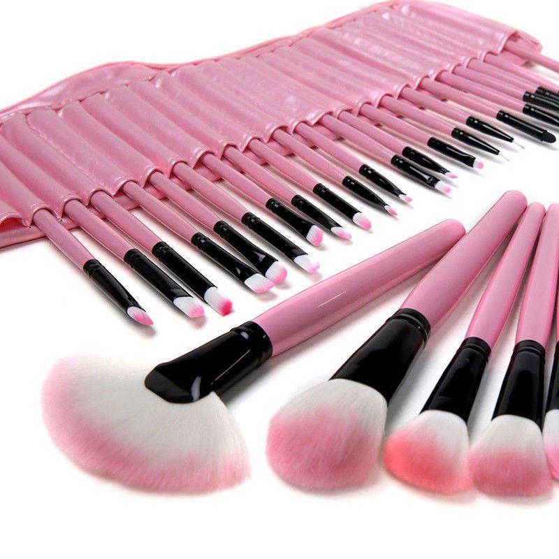 Pro 32 Pcs Pouch Bag Case Superior Soft Cosmetic Makeup Brush Set Kit Pink Case