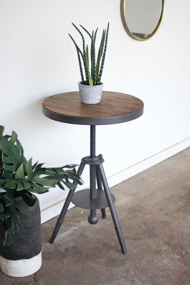 Round wood and adjustable metal side table | Metal side table ...