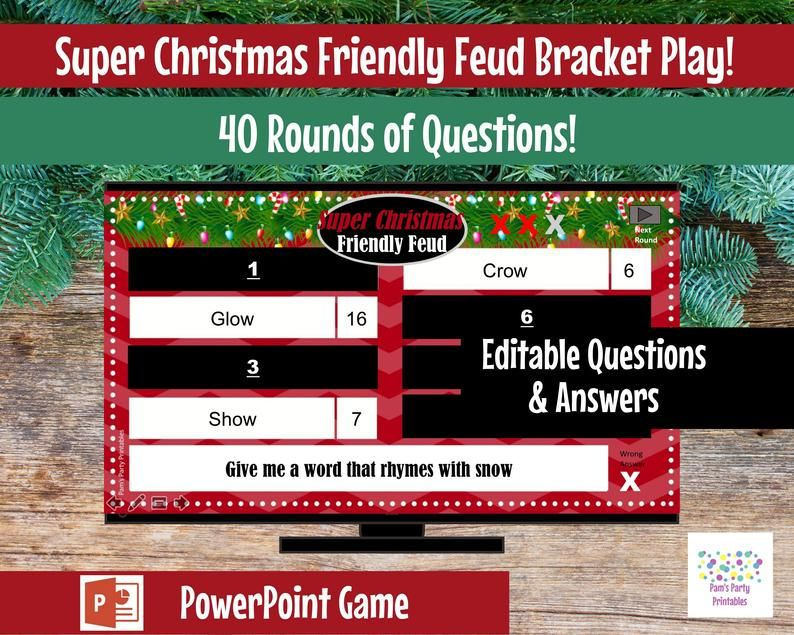Super Christmas Friendly Feud, Editable, PowerPoint Game