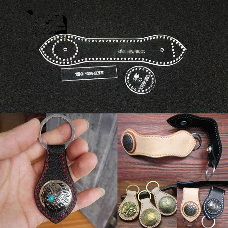 21b41535e 1 Unidades acrílico plantilla DIY cuero artesanal clave hebilla patrón de  costura