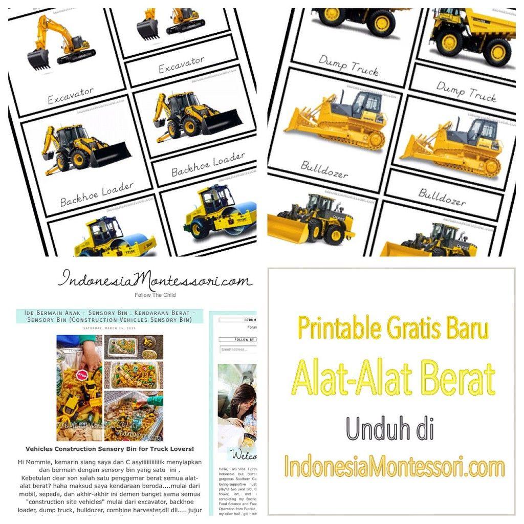 Printable Kartu Montessori Bertemakan Alat Alat Berat