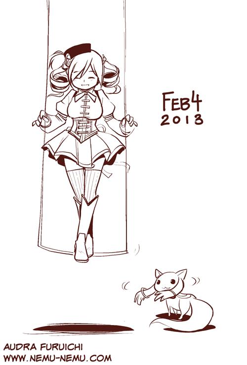[Sketch] 2013.02.04 - Mami Tomoe & Kyubey (Madoka Magica)