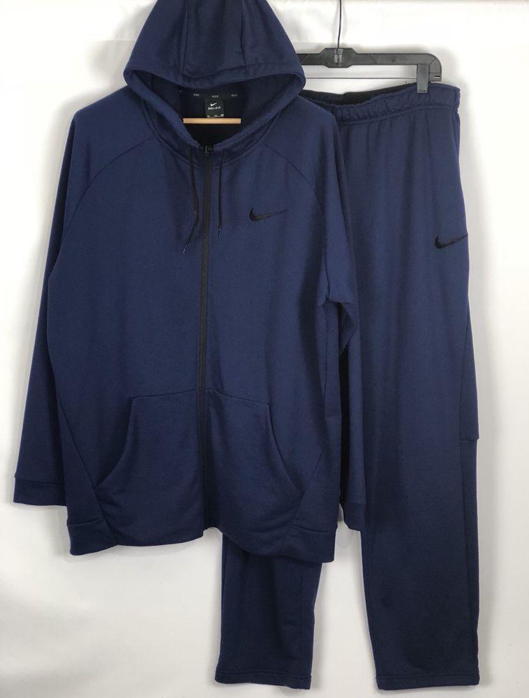 3464f87902e03 Nike Dri Fit Outfit Zip Hoodie Sweatpants Pants XXL Blue 2XL Set #Nike