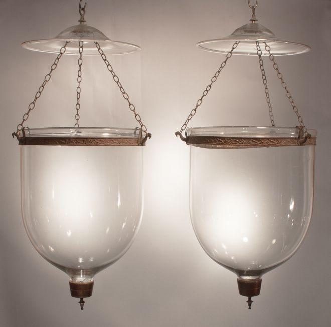 Pair Antique English Clear Glass Bell Jar Lights Or Hall Lanterns Fair Trade Antiques Antique Bell Jar Lanterns Jar Pendant Light
