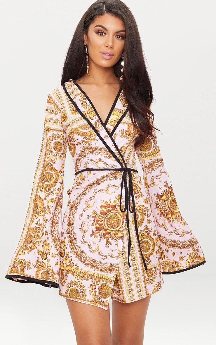 500e9e7994a0 Lilac Chain Print Kimono Sleeve Wrap Blazer Dress