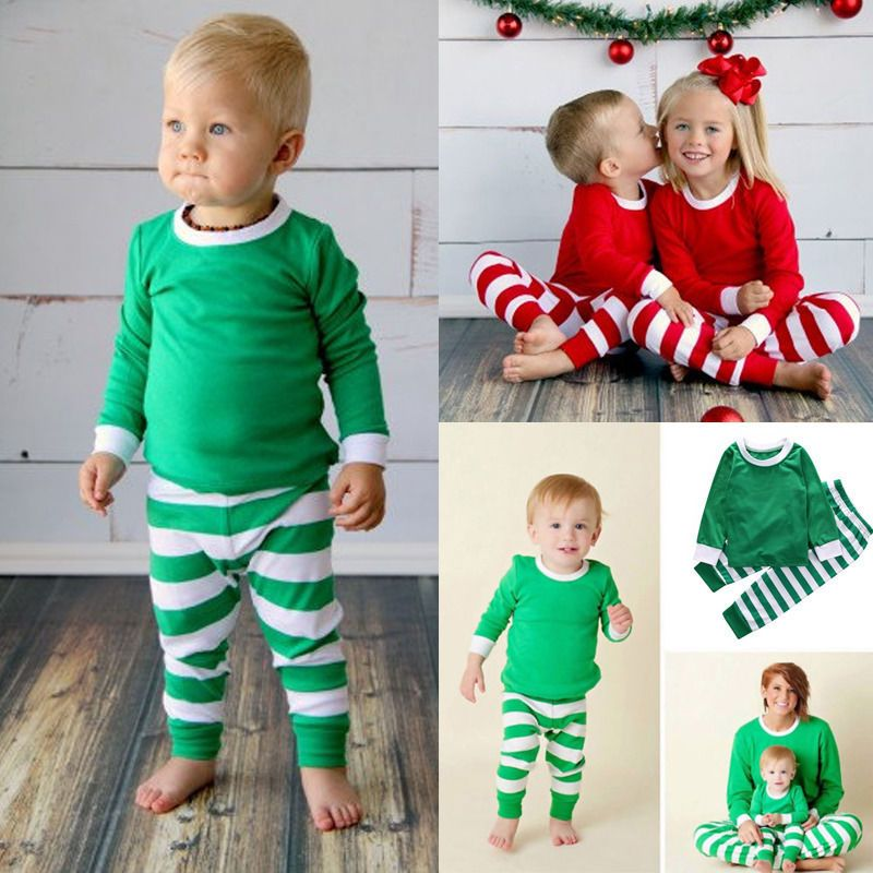 Toddler Kids Baby Boy Girls Striped Outfits Christmas Pajamas Sleepwear Set 1a46ad90b
