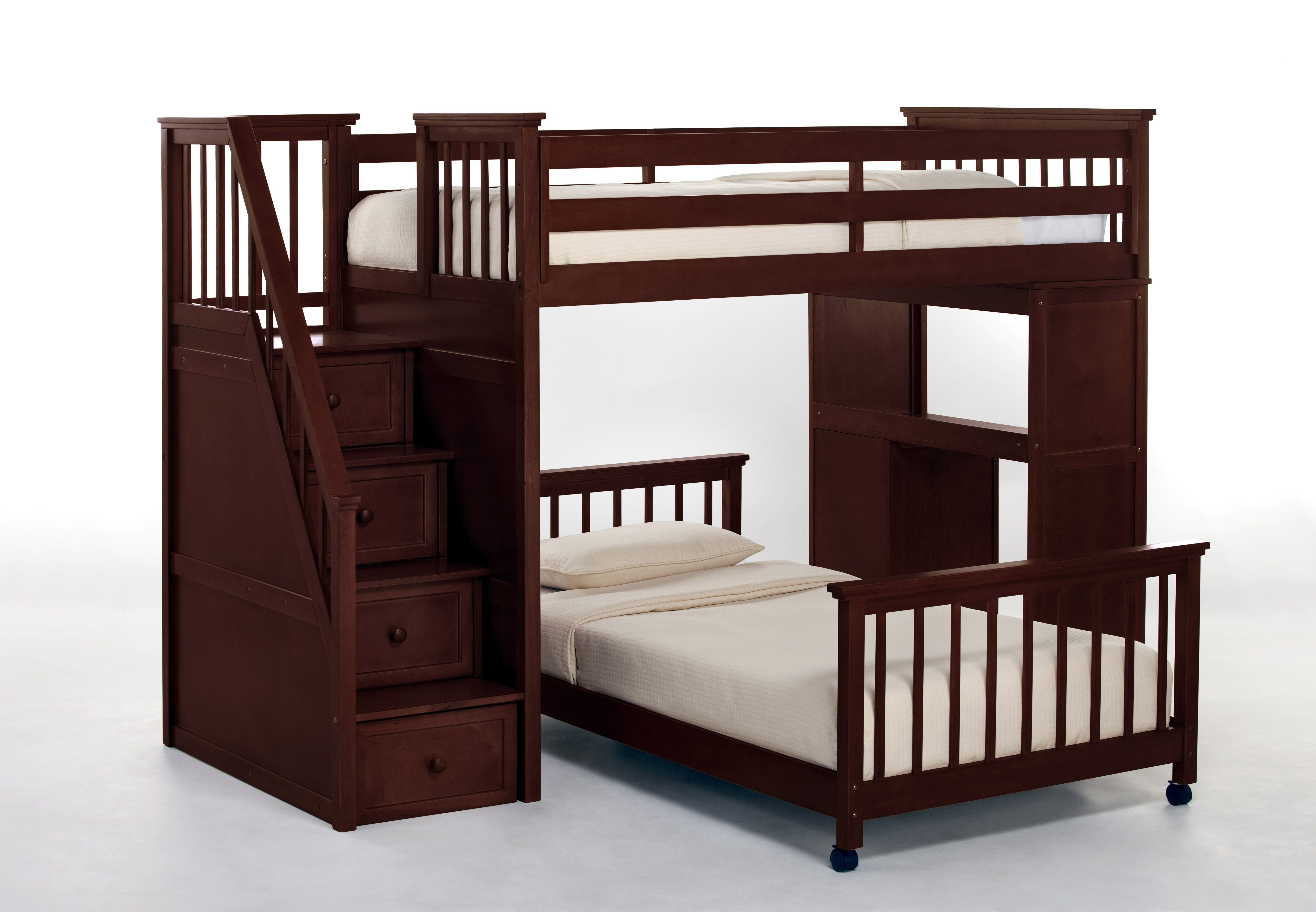 Best Interesting Bunk Bed Wooden With Mattress And Pillow White 400 x 300