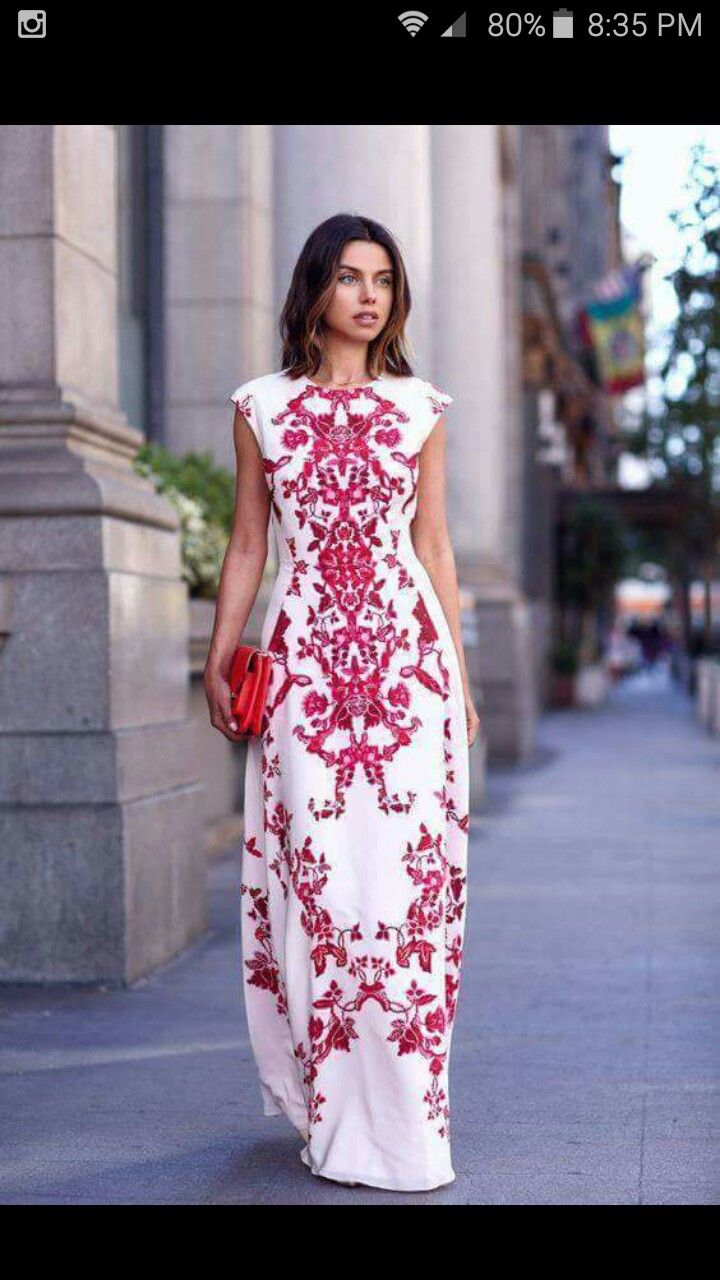 Beautiful embroidered dress. Gives me a mexican embroidered vibe ...