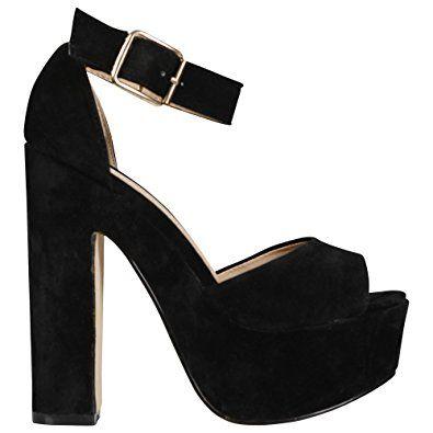 Damen-Sandalen mit Knöchelriemen, klobig, Plateausohle, High-Heel-Schuhe,  Größe 36-42 Offene Pumps Absätze Sneaker Offene Sandalen Stiletto  Ballerinas ...