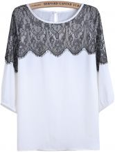 White Round Neck Contrast Lace Loose T-Shirt $22.03