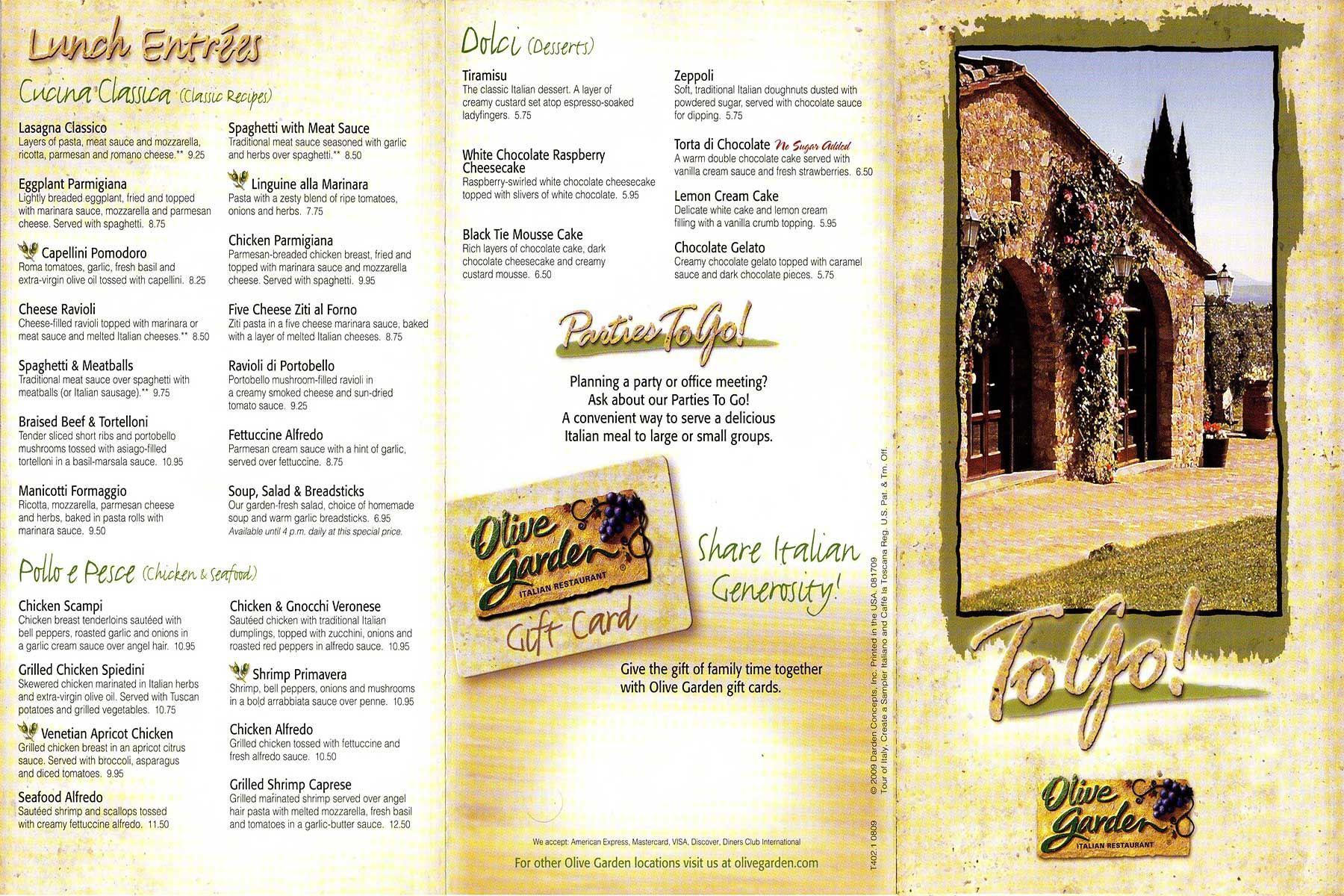 The Olive Garden Menu! Olive gardens menu, Olive gardens