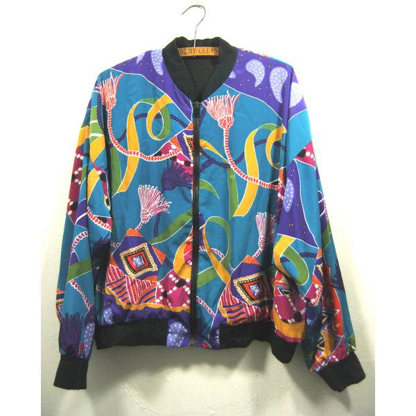 Vintage Colorful Abstract Patterned Silk Bomber Jacket wbjCz
