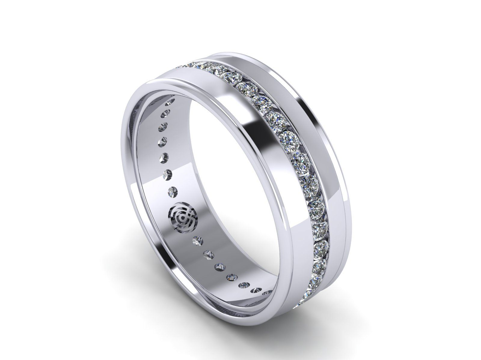 An all white gold version of our most popular design in Mens Wedding