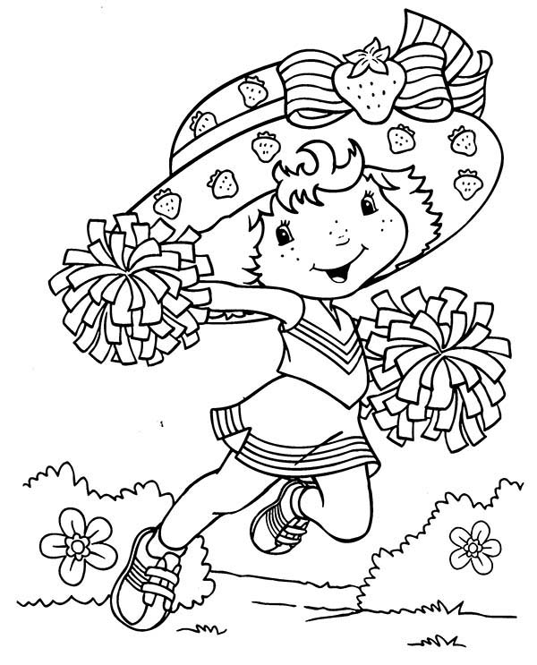 Strawberry Shortcake Want To Be A Cheerleader Coloring Page Coloring Sky Strawberry Shortcake Coloring Pages Coloring Pages Cute Coloring Pages