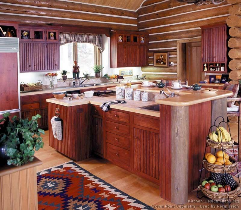 #Kitchen Of The Day: Log Home Kitchen With Red Cabinets And Vaulted  Ceilings (