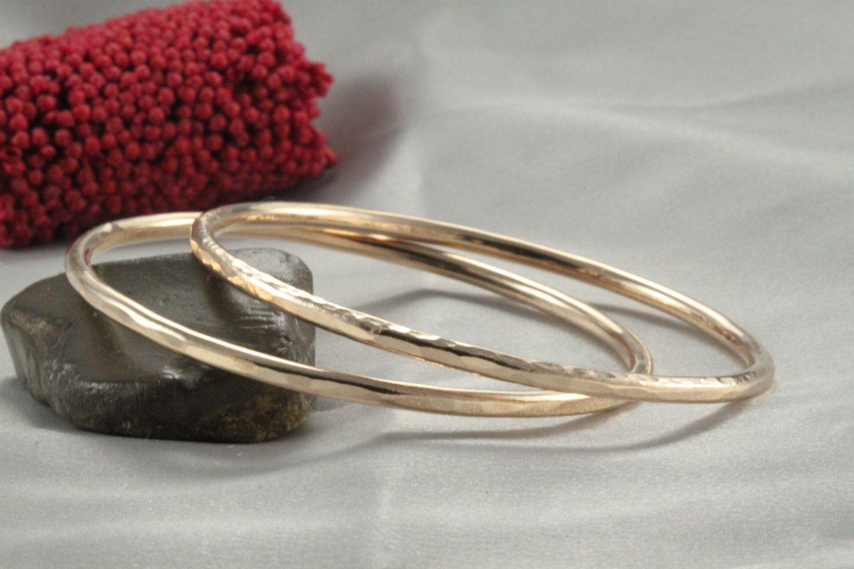 stacking bracelet k gold handmade bangle k hammered bangle