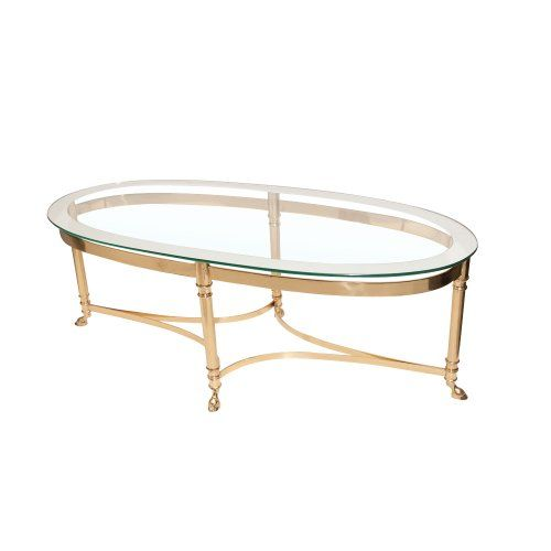 Mid-Century Brass Base & Glass Top Coffee Table Attributed