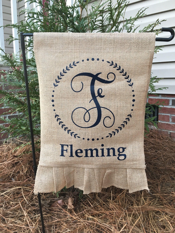 Personalized Garden Flag Monogrammed Burlap Glag Customers Christmas