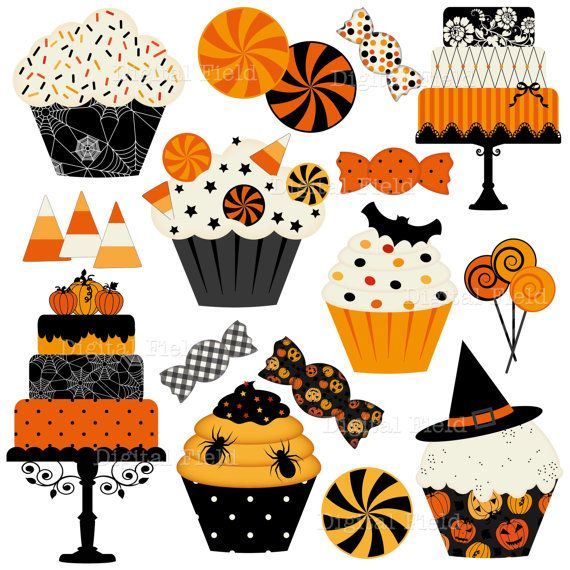 graphic relating to Free Printable Halloween Clipart referred to as Halloween Cakes, Cupcakes and Candies Clip Artwork Preset