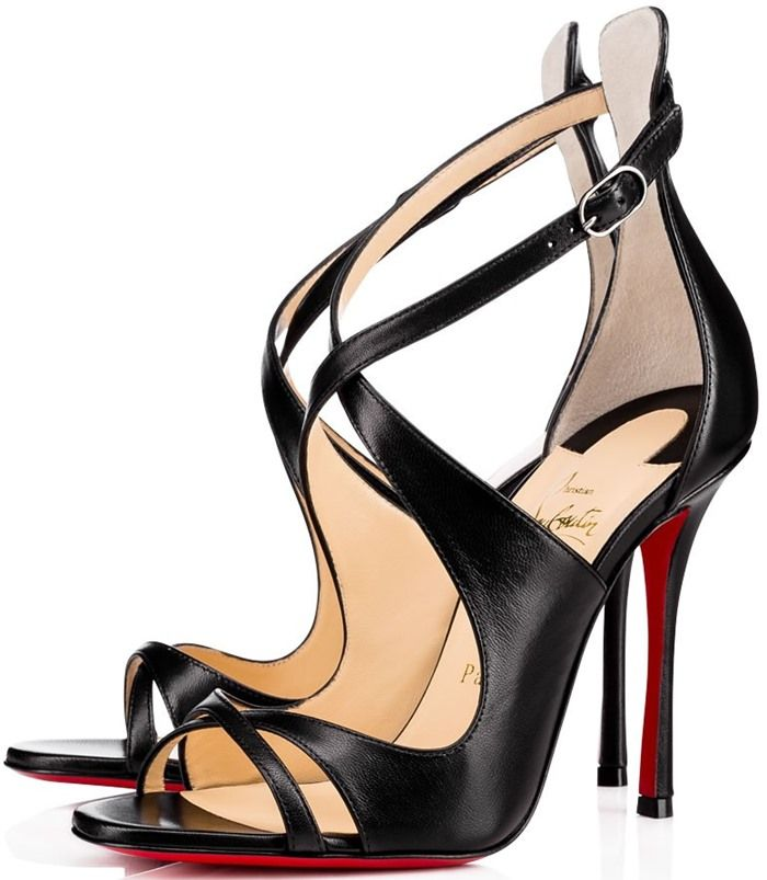 96e2fb0bdef Christian Louboutin 'Malefissima' Crisscross 100mm Red Sole Sandals ...