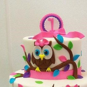 Owl Fondant Cake Topper 1st Birthday Baby Shower Pink Bow Optional