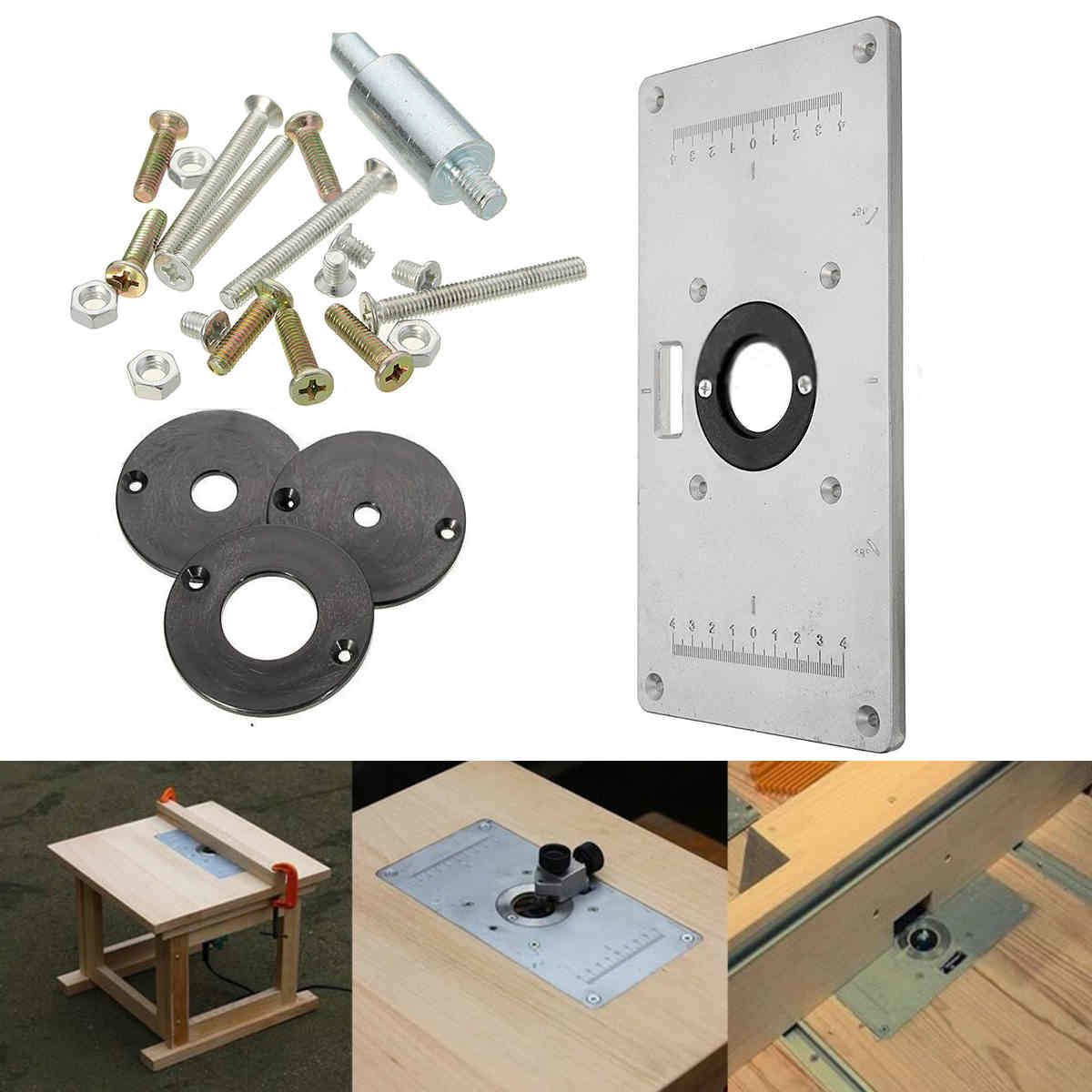 2017 1pc mayitr aluminum metal router table insert plate with 4pcs 2017 1pc mayitr aluminum metal router table insert plate with 4pcs router insert rings for woodworking greentooth Choice Image