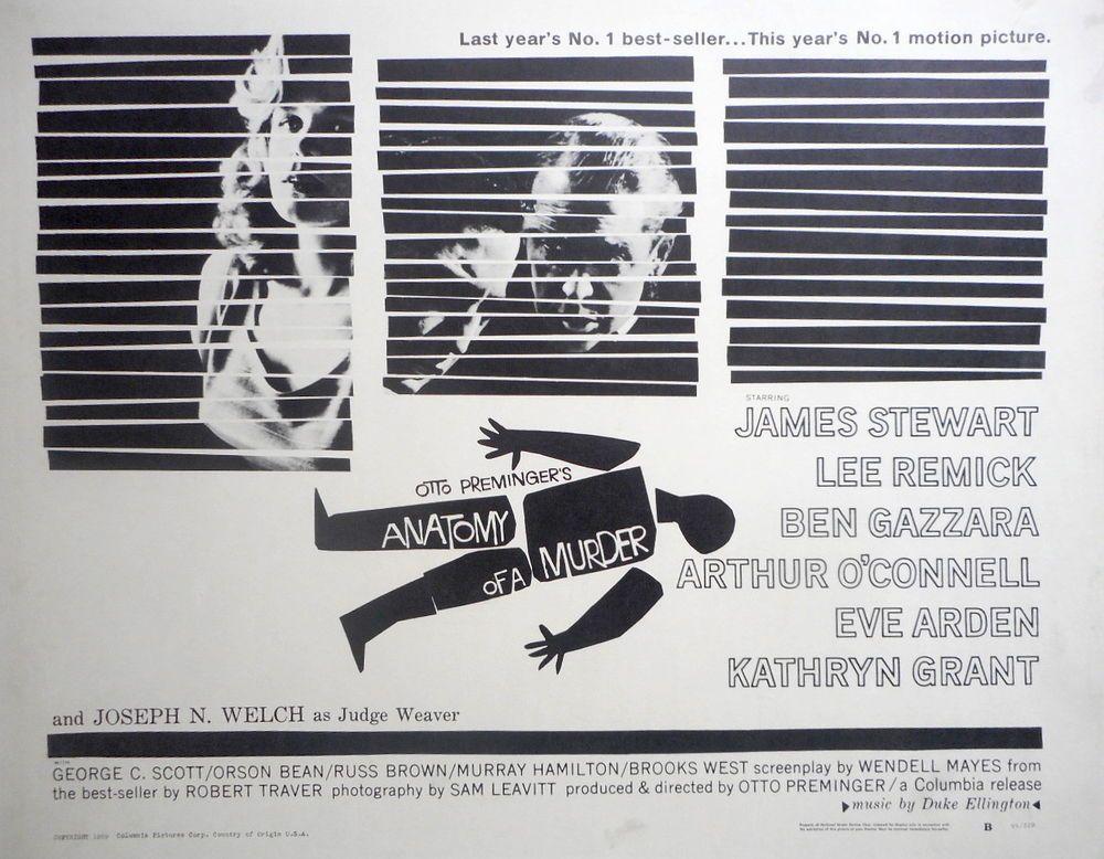 ANATOMY OF A MURDER James Stewart Saul Bass Art 22 x 28 Half Sheet ...