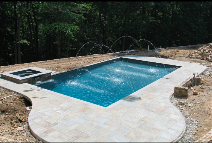 1000 sq. ft. pool/spa combo, deck jets and bluestone coping and