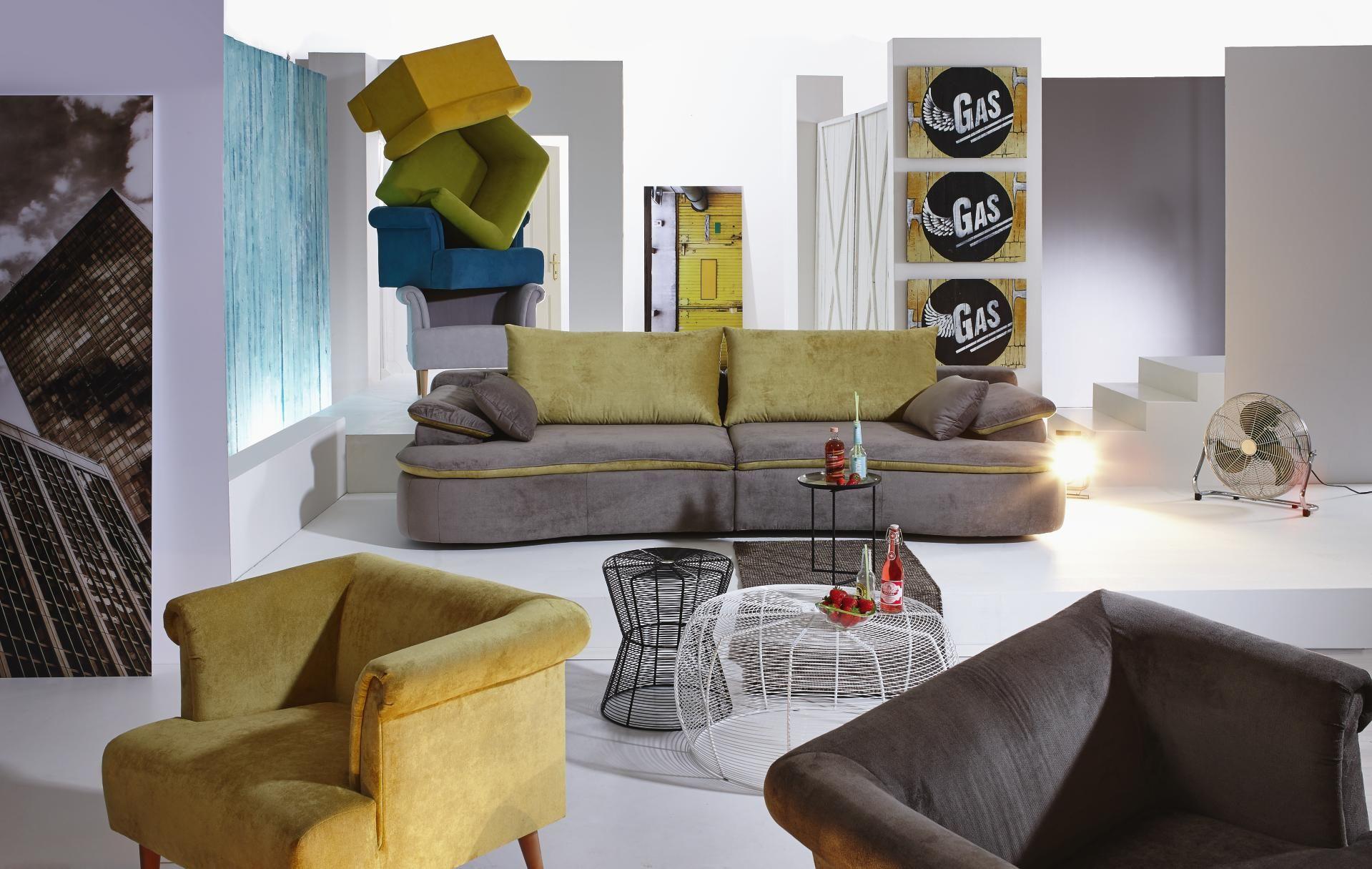 MEGASOFA In Gelb, Schlammfarben Textil