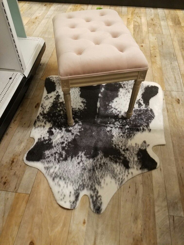 Faux cowhide and blush velvet bench