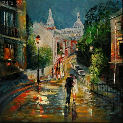 PARIS MONTMARTRE CITY STREET EVE LIGHTS Original MODERN Oil Painting YARY DLUHOS