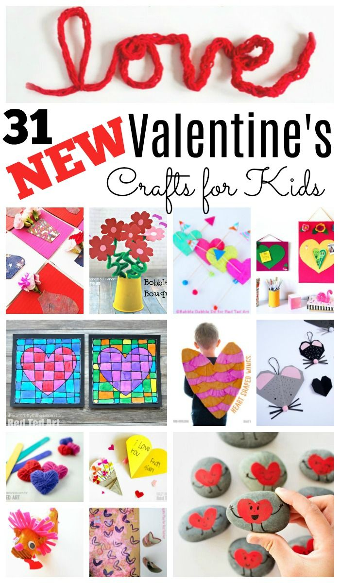 31 NEW Valentine's Day Projects for kids of all ages. We love Kids Valentine's Day Crafts and this is a wonderfully gorgeous Valentines Craft set for kids. From Valentines Cards to Valentines Gifts. #31daysoflove #valentines #valentinesday #kids #preschool