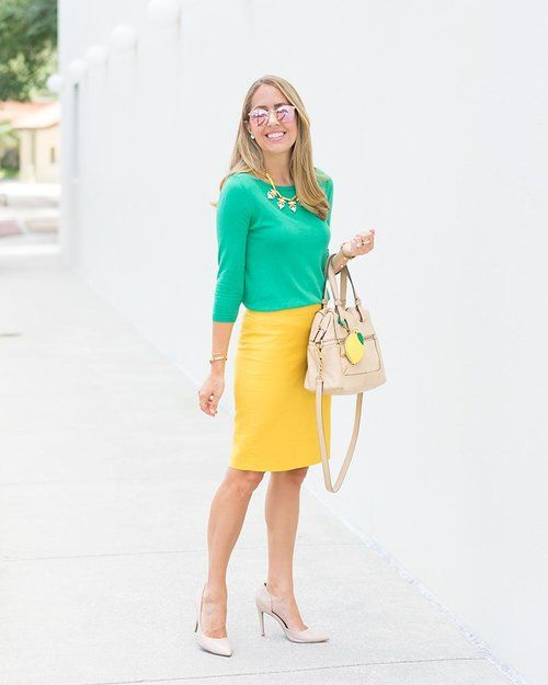 66a497ba9 10/19/17: Green sweater, yellow skirt, insect statement necklace, nude  patent kitten heels