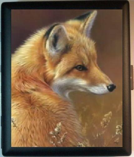 Red Fox Black Metal Wallet ID Business Card Cigarette Case | eBay